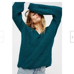 Free People All Mine V-neck Slouchy Green Sweater